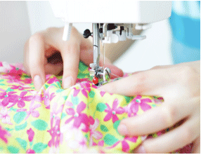 Sewing colorful fabric